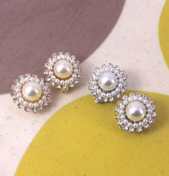 Statement Crystal Pearl Clip On Earrings