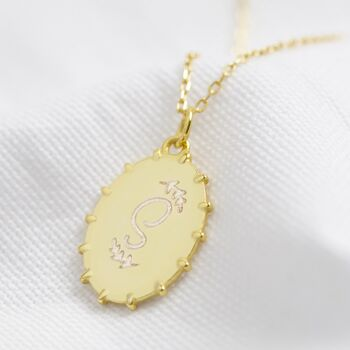 Personalised Gold Sterling Silver Oval Signet Necklace