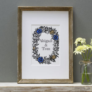 Personalised 'Cornflowers' Wedding Linocut Print - dates & special occasions
