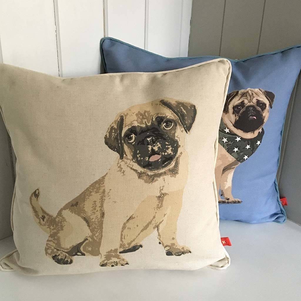 Fawn Pug Feature Cushion