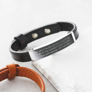 Personalised Men's Adjustable Message Bracelet - 50th birthday gifts