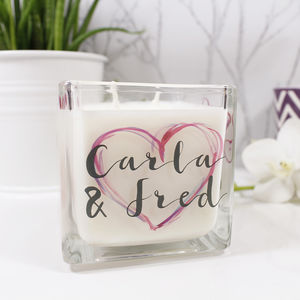 Personalised Heart Design Scented Candle For Couples - kitchen