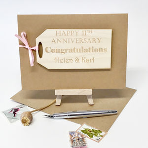 Personalised Anniversary Gift Tag Card