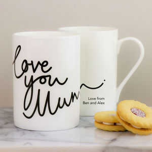 Personalised Love You Mum China Mug - dining room