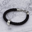 Personalised Traveller Silver And Leather Bracelet