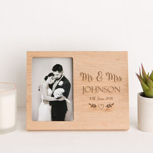 Mr And Mrs Wedding Day Oak Photo Frame