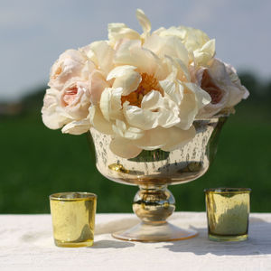 Antique Footed Gold Bowl - centre pieces & flowers