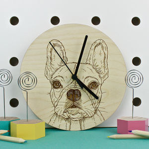 French Bulldog Portrait Wall Clock - children's clocks