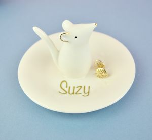 White And Gold Mouse Jewellery Dish And Ring Holder