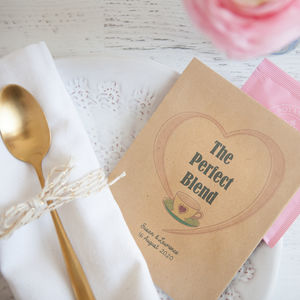 10 'The Perfect Blend' Personalised Tea Packet Favours - new in wedding styling