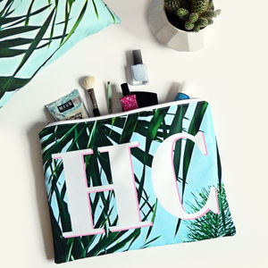 Palm Leaf Print Monogram Wash Bag - bathroom