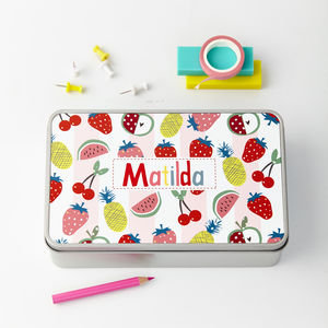 Girls Personalised Pattern Storage Tin