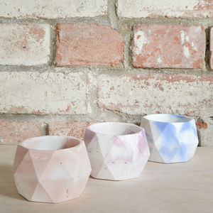 Geometric Marbled Pastel Concrete Pots - off to university