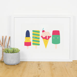 Summer Icecream And Lollipop Art Print