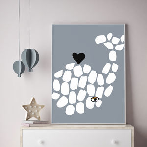 Whale Children's Print - modern graphic art