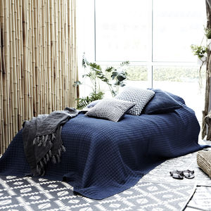 Indigo Blue Bed Throw - bedspreads & quilts