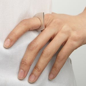 Diagonal Polished Edge Ring - contemporary jewellery