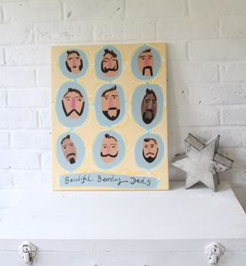 'Beautiful Beardy Dads' Original Painting On Canvas - new in prints & art