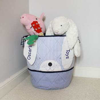Personalised Blue Bunny Toy Bag