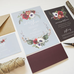 Floral Chalkboard Wedding Stationery Suite - rustic wedding