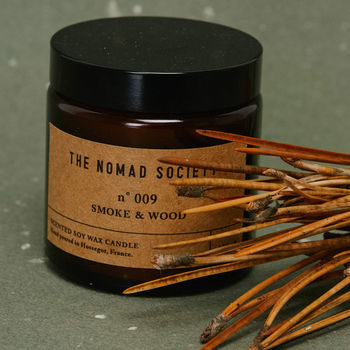 Smoke And Wood Scented Soy Candle