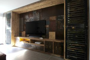 Tunni Media Unit With Patchwork Feature Wall - cabinets