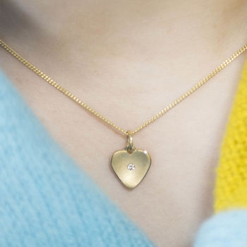Yellow Gold Heart Pendant With Flush Set Diamond