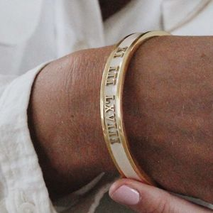 Personalised Birthday Bangle Handmade 18ct Gold - gifts for her
