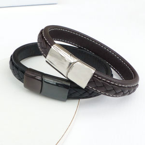 Mens Leather Strap And Steel Bracelet