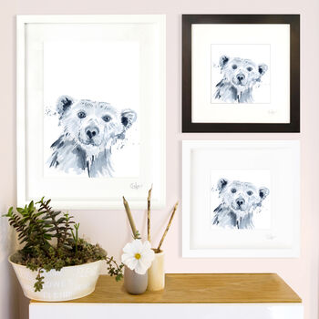 Inky Polar Bear Illustration Print