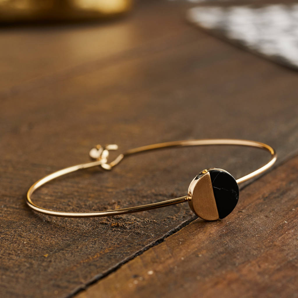 black howlite stone and gold wire bangle by lime lace ...