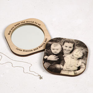 Personalised Square Photo Compact Mirror For Her