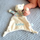 Personalised Floral Cat Baby Comforter