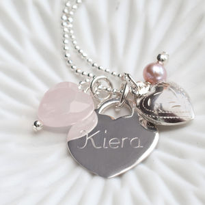 Personalised Sterling Silver And Vintage Rose Necklace - naming day celebration gifts