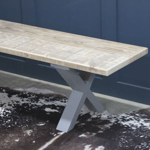 King's Cross Reclaimed Wood Bench With X Frame - kitchen