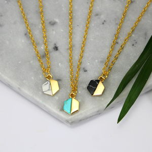 Mini Hexagon And Stone Necklace