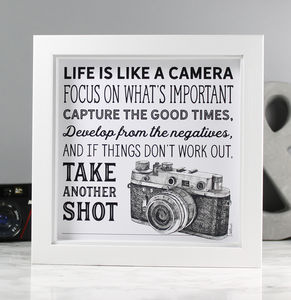 'Life Is Like A Camera' Illustrated Quote Print - typography