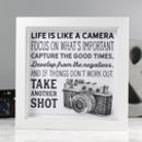 'Life Is Like A Camera' Illustrated Quote Print