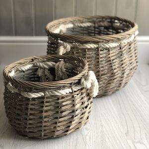 Set Of Two Nautical Storage Baskets