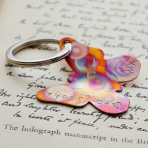 Personalised Butterfly Copper Key Ring