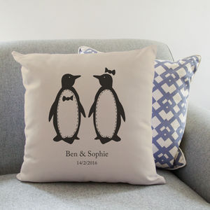 Personalised Penguin Pairs Cushion - 2nd anniversary: cotton