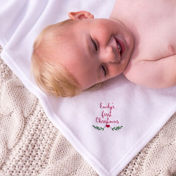 Personalised Winter First Christmas Baby Blanket Shawl
