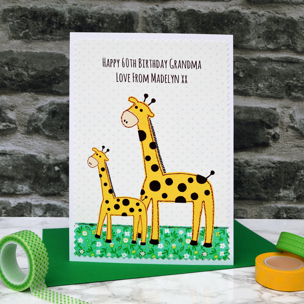 Giraffe and baby personalised birthday card by jenny arnott cards giraffe and baby personalised birthday card bookmarktalkfo