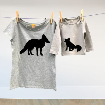 Mother And Child Vixen And Cub Fox Tshirt Tops