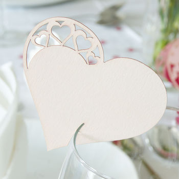 Pack Of 10 Detailed Heart Glass Name Place Cards