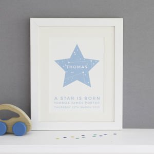 Personalised 'A Star Is Born' Framed New Baby Print - picture frames for children