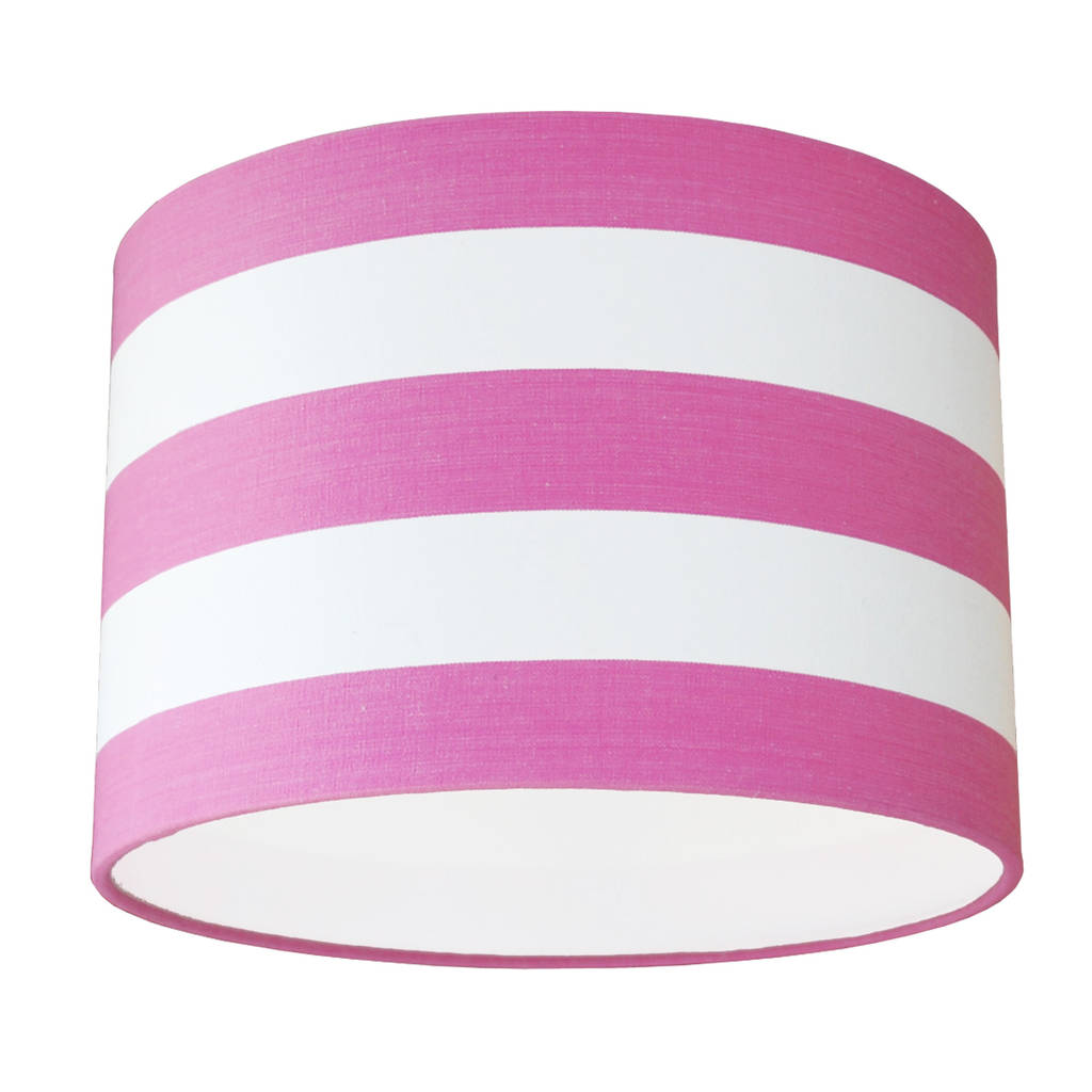 Pink And White Deckchair Stripe Lampshade