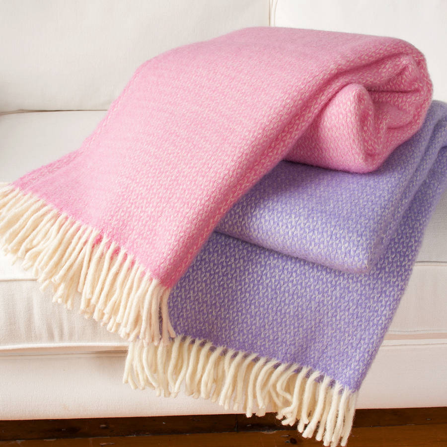 wool throw blanket in pink and lilac by jodie byrne  : originalwool throw blanket in pink lilac from www.notonthehighstreet.com size 900 x 900 jpeg 139kB