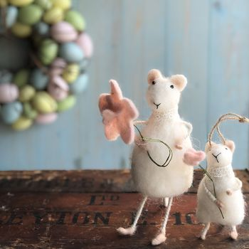 White Wool Mice Easter Decorations