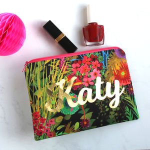 Tropical Metallic Name Make Up Bag - make-up bags